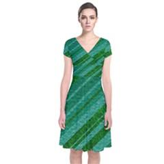 Stripes Course Texture Background Short Sleeve Front Wrap Dress