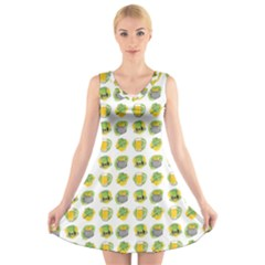 St Patrick S Day Background Symbols V Neck Sleeveless Skater Dress