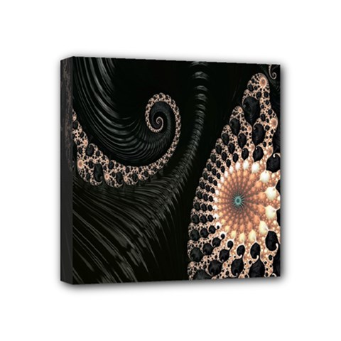 Fractal Black Pearl Abstract Art Mini Canvas 4  x 4