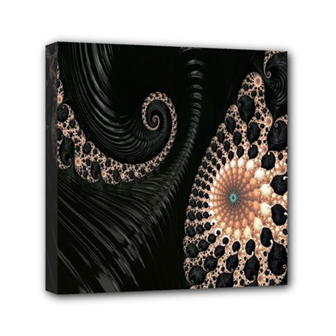 Fractal Black Pearl Abstract Art Mini Canvas 6  X 6