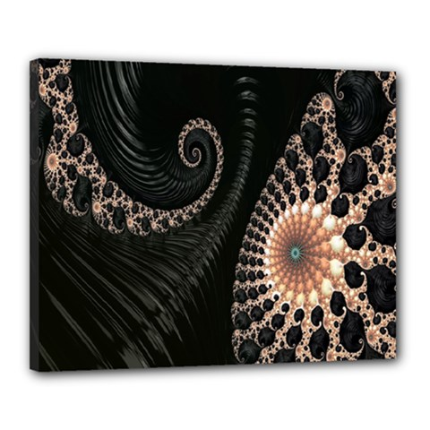 Fractal Black Pearl Abstract Art Canvas 20  X 16
