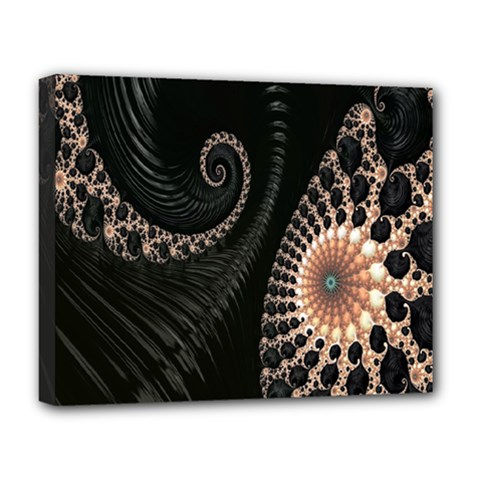 Fractal Black Pearl Abstract Art Deluxe Canvas 20  x 16