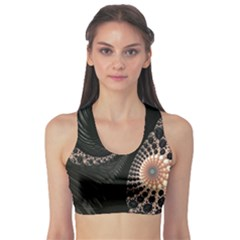 Fractal Black Pearl Abstract Art Sports Bra