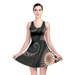 Fractal Black Pearl Abstract Art Reversible Skater Dress