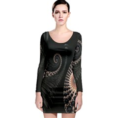 Fractal Black Pearl Abstract Art Long Sleeve Bodycon Dress