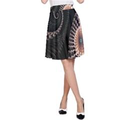Fractal Black Pearl Abstract Art A-Line Skirt