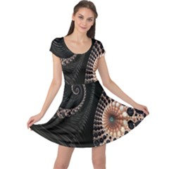 Fractal Black Pearl Abstract Art Cap Sleeve Dresses