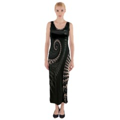 Fractal Black Pearl Abstract Art Fitted Maxi Dress