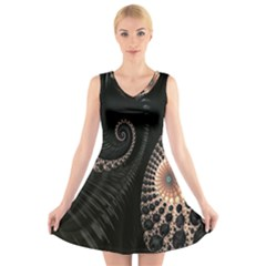 Fractal Black Pearl Abstract Art V Neck Sleeveless Skater Dress