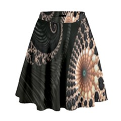 Fractal Black Pearl Abstract Art High Waist Skirt