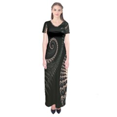 Fractal Black Pearl Abstract Art Short Sleeve Maxi Dress