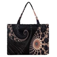 Fractal Black Pearl Abstract Art Medium Zipper Tote Bag