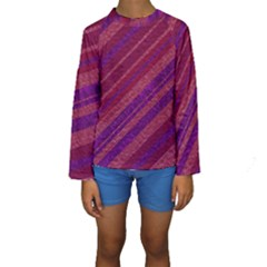 Stripes Course Texture Background Kids  Long Sleeve Swimwear