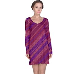 Stripes Course Texture Background Long Sleeve Nightdress