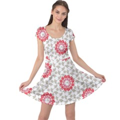 Stamping Pattern Fashion Background Cap Sleeve Dresses