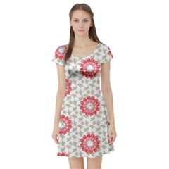Stamping Pattern Fashion Background Short Sleeve Skater Dress