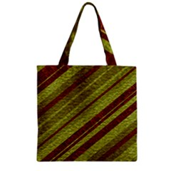 Stripes Course Texture Background Zipper Grocery Tote Bag