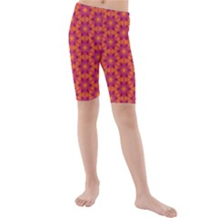 Pattern Abstract Floral Bright Kids  Mid Length Swim Shorts