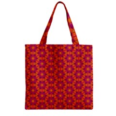 Pattern Abstract Floral Bright Zipper Grocery Tote Bag