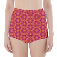Pattern Abstract Floral Bright High-Waisted Bikini Bottoms