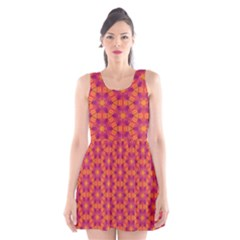 Pattern Abstract Floral Bright Scoop Neck Skater Dress