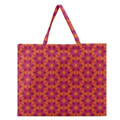 Pattern Abstract Floral Bright Zipper Large Tote Bag