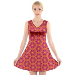 Pattern Abstract Floral Bright V Neck Sleeveless Skater Dress