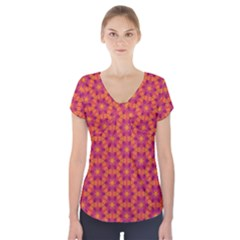 Pattern Abstract Floral Bright Short Sleeve Front Detail Top
