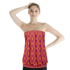 Pattern Abstract Floral Bright Strapless Top