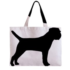 Border Terrier Silhouette Zipper Mini Tote Bag