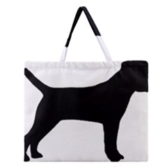 Border Terrier Silhouette Zipper Large Tote Bag