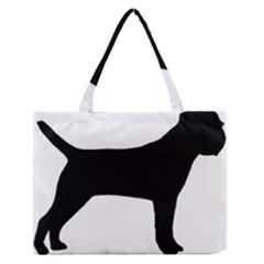Border Terrier Silhouette Medium Zipper Tote Bag