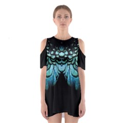 Blue And Green Feather Collier Shoulder Cutout One Piece