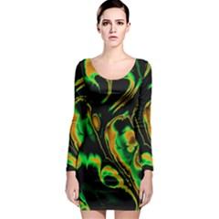 Glowing Fractal A Long Sleeve Bodycon Dress