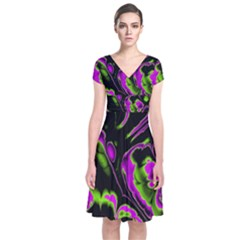 Glowing Fractal B Short Sleeve Front Wrap Dress
