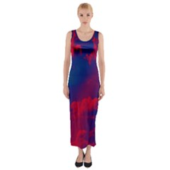Sky pattern Fitted Maxi Dress