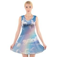 Sky pattern V-Neck Sleeveless Skater Dress