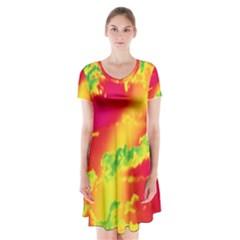 Sky pattern Short Sleeve V-neck Flare Dress