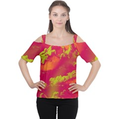 Sky pattern Women s Cutout Shoulder Tee