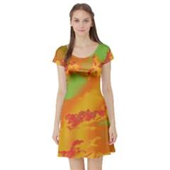 Sky pattern Short Sleeve Skater Dress