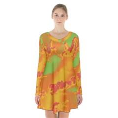 Sky pattern Long Sleeve Velvet V-neck Dress