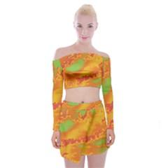 Sky pattern Off Shoulder Top with Skirt Set
