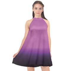 Purple Fog Halter Neckline Chiffon Dress