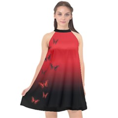 Dark Butterfly Halter Neckline Chiffon Dress