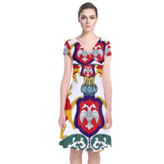 State Seal of Karnataka Short Sleeve Front Wrap Dress