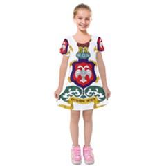 State Seal Of Karnataka Kids  Short Sleeve Velvet Dress