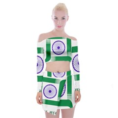 Seal of Indian State of Jharkhand Off Shoulder Top with Skirt Set