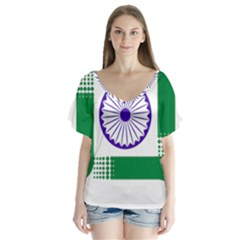 Seal Of Indian State Of Jharkhand Flutter Sleeve Top
