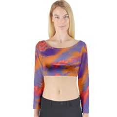 Sky pattern Long Sleeve Crop Top