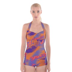 Sky pattern Boyleg Halter Swimsuit